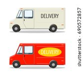red and white delivery cars... | Shutterstock .eps vector #690572857