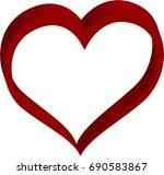 3d red heart valentine love logo | Shutterstock .eps vector #690583867