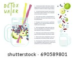 recipe of detox water with... | Shutterstock .eps vector #690589801