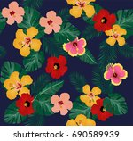 vector illustration of tropical ... | Shutterstock .eps vector #690589939