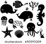 black and white vector icons of ... | Shutterstock .eps vector #690595309