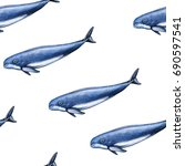pattern with sea pigs....   Shutterstock . vector #690597541