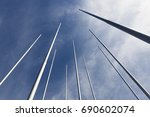 metal flagpoles against the... | Shutterstock . vector #690602074