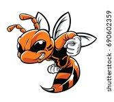 orange hornet character...   Shutterstock .eps vector #690602359