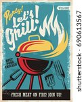 barbecue grill party poster... | Shutterstock .eps vector #690613567