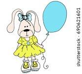 doodle rabbit vector | Shutterstock .eps vector #690621601