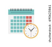 calendar and clock icon.... | Shutterstock .eps vector #690625861