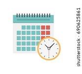 calendar and clock icon.... | Shutterstock .eps vector #690625861