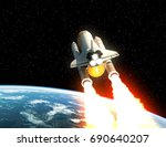 space shuttle launch above the... | Shutterstock . vector #690640207