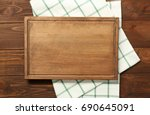 composition of board and napkin ... | Shutterstock . vector #690645091