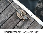 angle image of a dock cleat on... | Shutterstock . vector #690645289