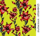 red lilies pattern seamless.... | Shutterstock .eps vector #690648415