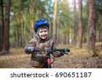 happy kid boy of 3 or 5 years... | Shutterstock . vector #690651187