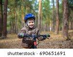 happy kid boy of 3 or 5 years... | Shutterstock . vector #690651691