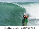 bodyboarder in action on the...   Shutterstock . vector #690652261