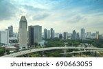 singapore skyline  april 8 ... | Shutterstock . vector #690663055