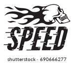 speed retro vector design with... | Shutterstock .eps vector #690666277