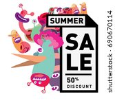 summer sale colorful style... | Shutterstock .eps vector #690670114