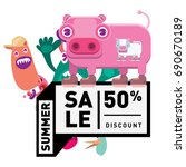 summer sale colorful style... | Shutterstock .eps vector #690670189