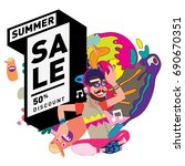 summer sale colorful style...   Shutterstock .eps vector #690670351