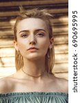 close up portrait of a... | Shutterstock . vector #690695995