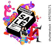 summer sale colorful style... | Shutterstock .eps vector #690703171