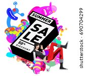 summer sale colorful style... | Shutterstock .eps vector #690704299