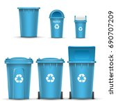 blue recycling bin bucket for... | Shutterstock . vector #690707209