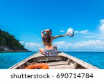 traveler woman in bikini... | Shutterstock . vector #690714784