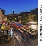 Small photo of NICE, FRANCE - CIRCA JUNE 2014: Diners in the Old Town (Vieux Nice), Nice
