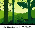 wolves pack silhouettes and... | Shutterstock .eps vector #690721885