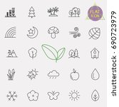 nature line icon set | Shutterstock .eps vector #690723979
