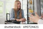 patient in clinic   blonde... | Shutterstock . vector #690724621