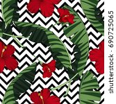 seamless pattern with tropical... | Shutterstock .eps vector #690725065