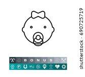 face of baby girl | Shutterstock .eps vector #690725719
