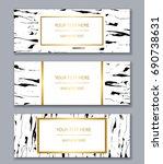 set of white  black and gold... | Shutterstock .eps vector #690738631