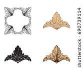 baroque vector set of vintage... | Shutterstock .eps vector #690739114
