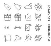 discount and sale line icon set.... | Shutterstock .eps vector #690739507