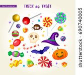 set of trick or treat vector... | Shutterstock .eps vector #690740005