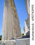 Small photo of AEGINA, GREECE - JUNE 19: The Temple of Aphaia in Aegina, Greece on June 19, 2017.