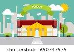 school building against the...   Shutterstock .eps vector #690747979