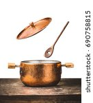copper cooking pot with flying  ... | Shutterstock . vector #690758815