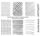 vector set of hand drawn brush... | Shutterstock .eps vector #690766597