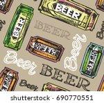 hand drawn doodle beer set.... | Shutterstock .eps vector #690770551