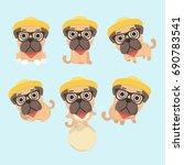 set of the funny cartoon pugs... | Shutterstock .eps vector #690783541