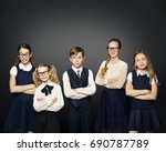 school children group  girls... | Shutterstock . vector #690787789