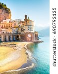 morning view of amalfi... | Shutterstock . vector #690793135