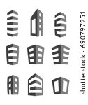 buildings icons in grey and... | Shutterstock .eps vector #690797251
