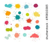 colorful paint splashes and... | Shutterstock . vector #690810385