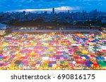 night city rooftop of flea... | Shutterstock . vector #690816175